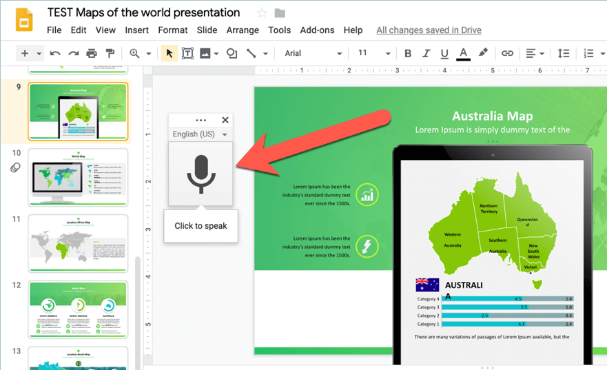 how to voice type your speaker notes on Google Slides