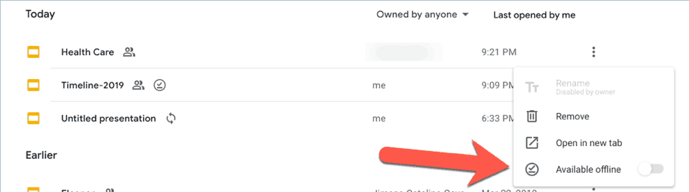 select individual files for offline availability