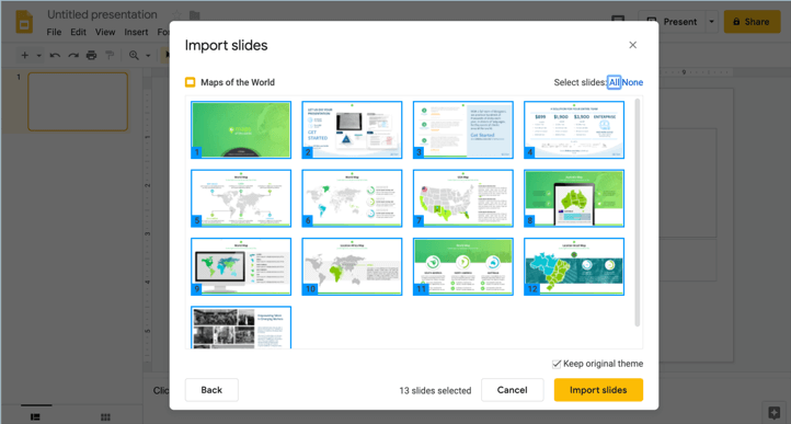 how to import PowerPoint template to Google Slides