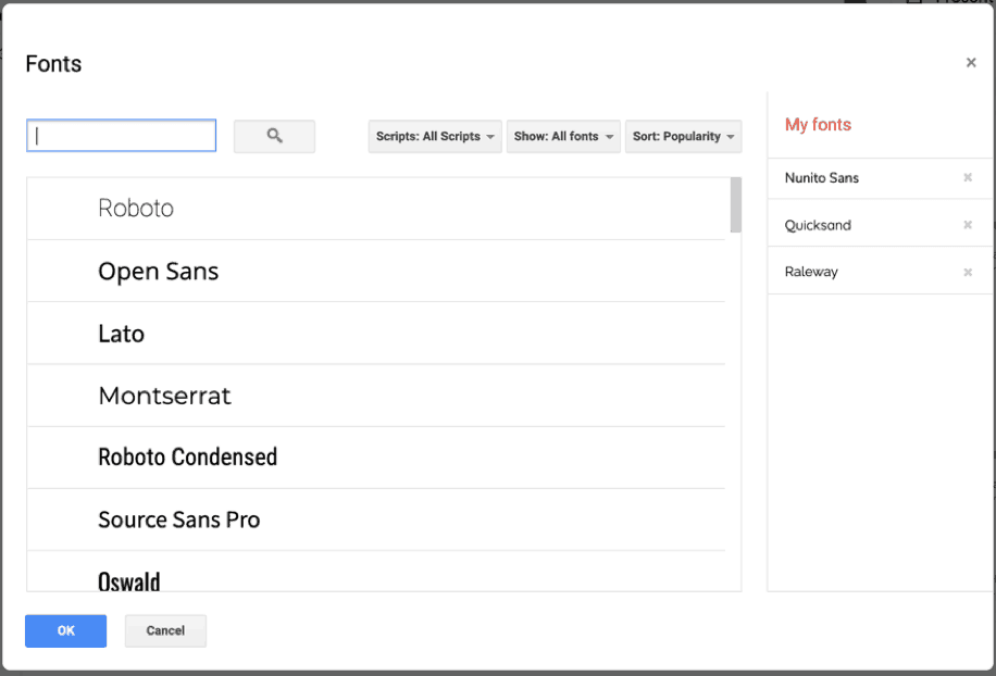 how to add Google fonts to Google Slides