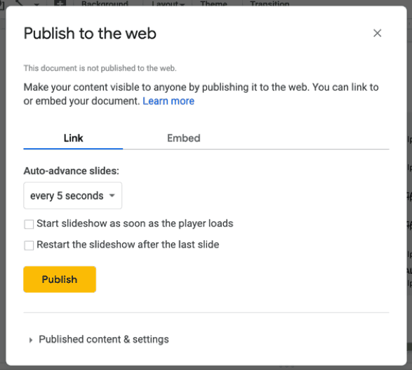 how to publish your google slides presentation to the web