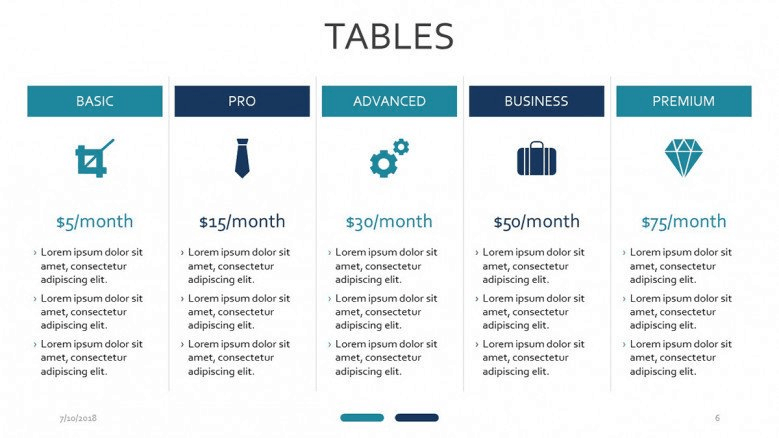 blue tables powerpoint
