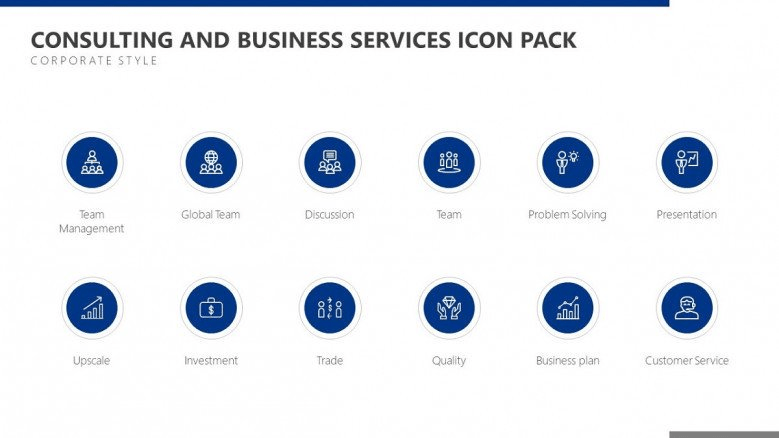 blue icons powerpoint template