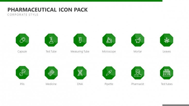 green pharmaceutical icons fro powerpoint