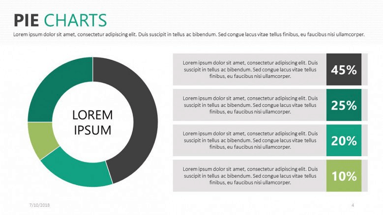green pie charts powerpoint template