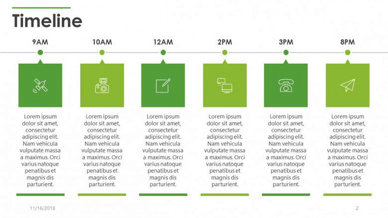 green timeline powerpoint template