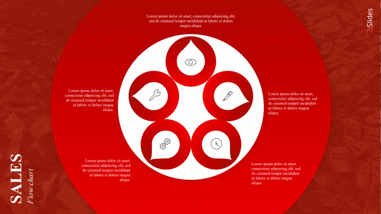 red sales flow PowerPoint Template