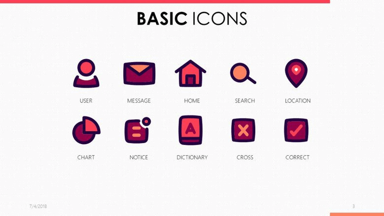 pink Powerpoint icons templates