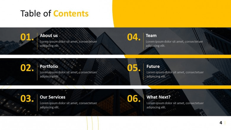 table of contents PowerPoint templates