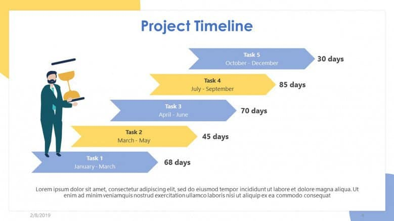 yellow timeline PowerPoint template