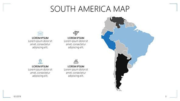 FREE South America Map PowerPoint Template PowerPoint Template