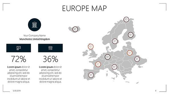 FREE Europe Map PowerPoint Template PowerPoint Template