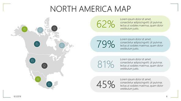 FREE North American Map PowerPoint Template PowerPoint Template