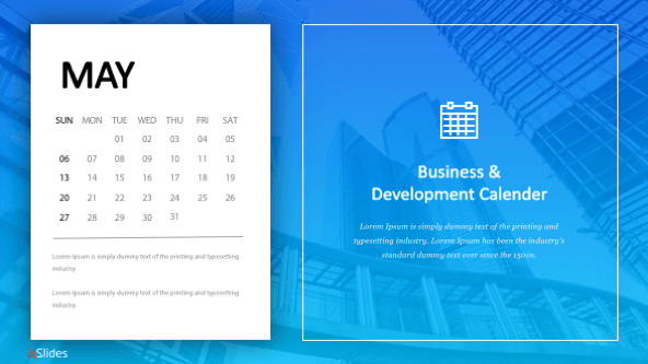 FREE Business Calendar Templates PowerPoint Template