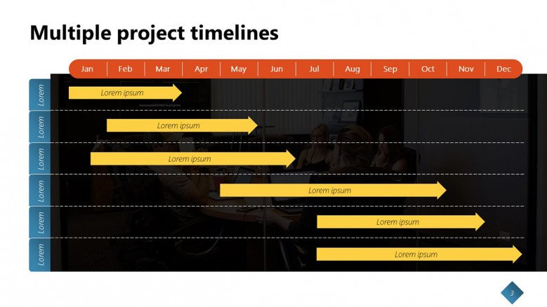 Multiple Timelines in PowerPoint with arrows