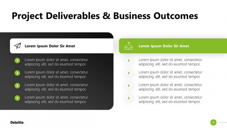 Project Outcomes Slide in black and white