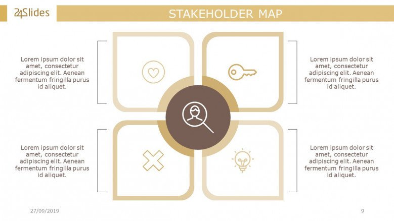 Stakeholders Matrix with four icons and text boxes in corporate style