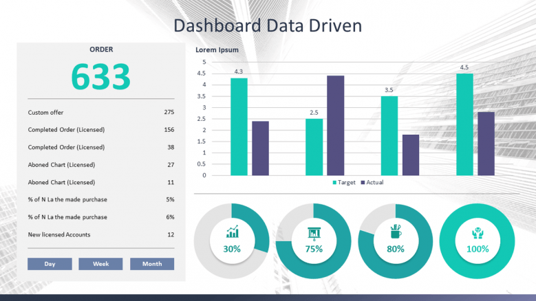 slide deck with bar chart and pie chart