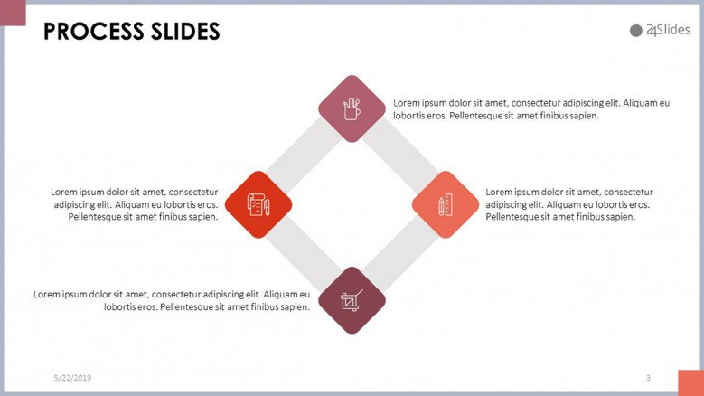 process slide in four stages with comment box and icon