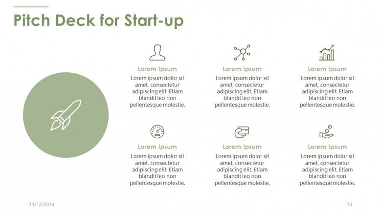 pitch deck for start up in text with icons