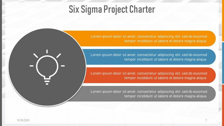 Ideas Slide with a light bulb icon for a Six Sigma Project Charter Presentation
