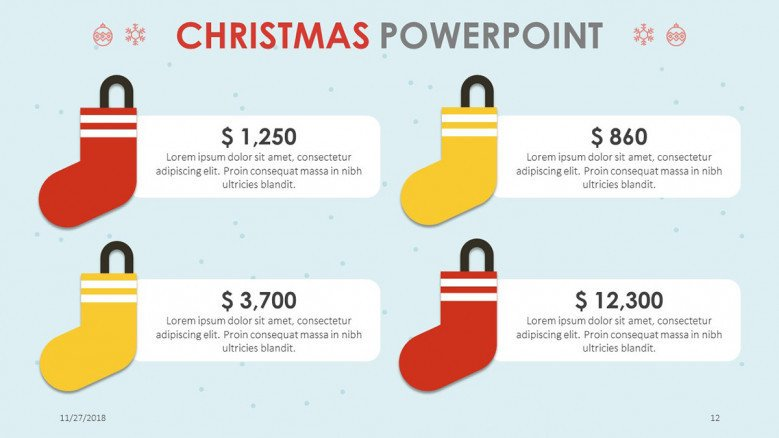 data driven slide with text for christmas themed presentation