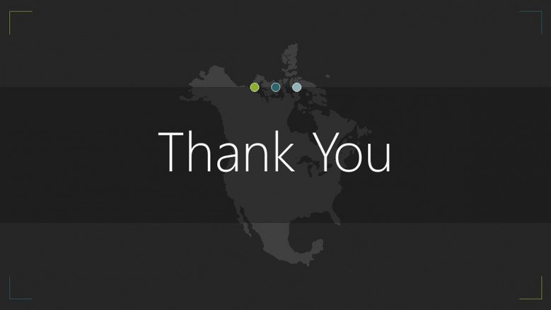 north america map thank you slide