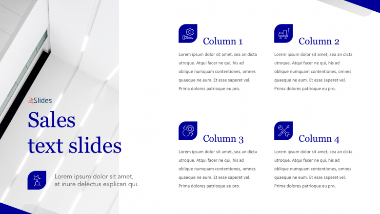 Sales text slides with 4 columns