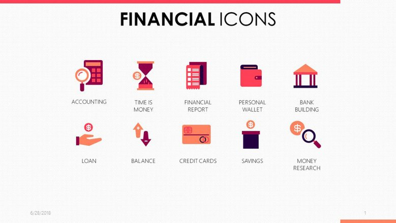 financial icons for business in pink and purple