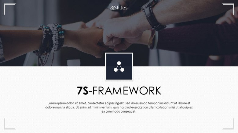 7s framework welcome slide in corporate style