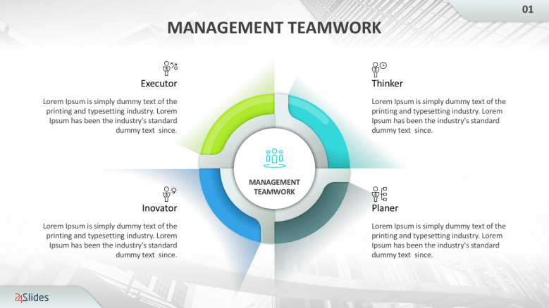 Management teamwork slide with four sections