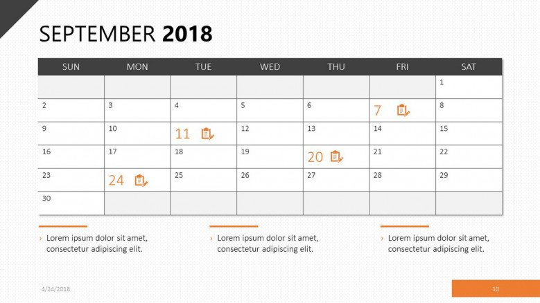 Calendar for september 2018 in orange theme