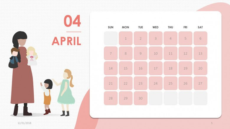 creative April slide in pink with people illustration