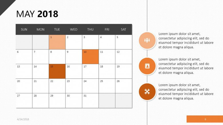 calendar may 2018 slide in orange theme