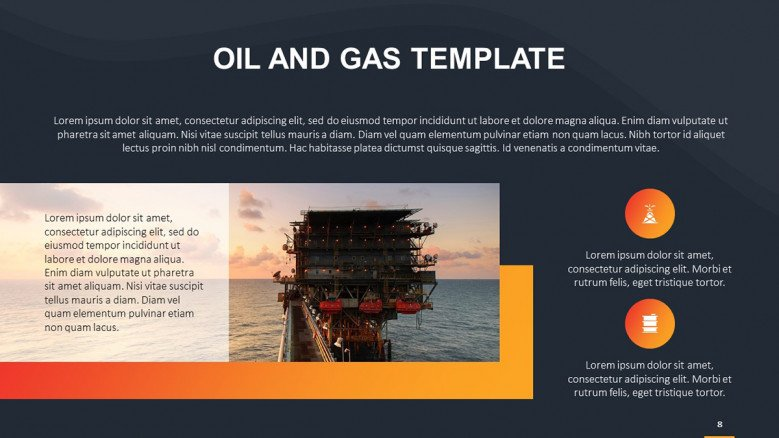 Oil and gas text slide featuring an image and icons