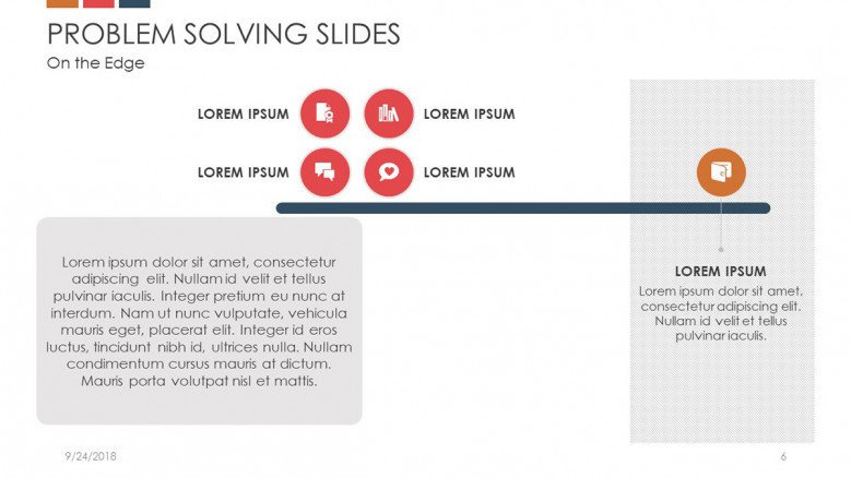 problem solving slide in scale chart to analyze postive and negative results and with texts