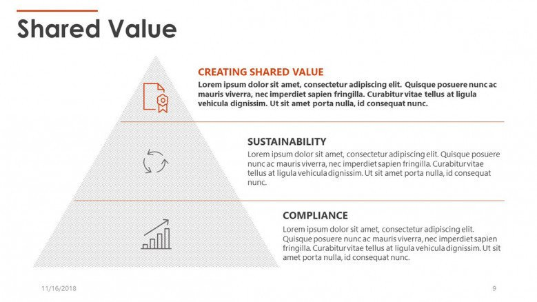 shared value in pyramid chart with icons and text