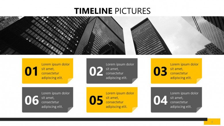 six sequenced timeline picture slide