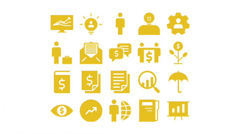 yellow color general icons slide