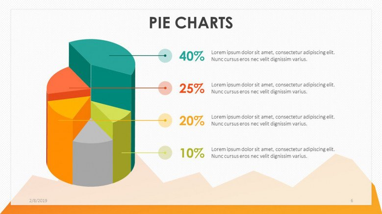 playful pie chart in cylinder illustration with data driven information text