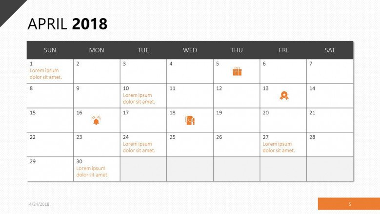 April 2018 calendar slide with orange theme
