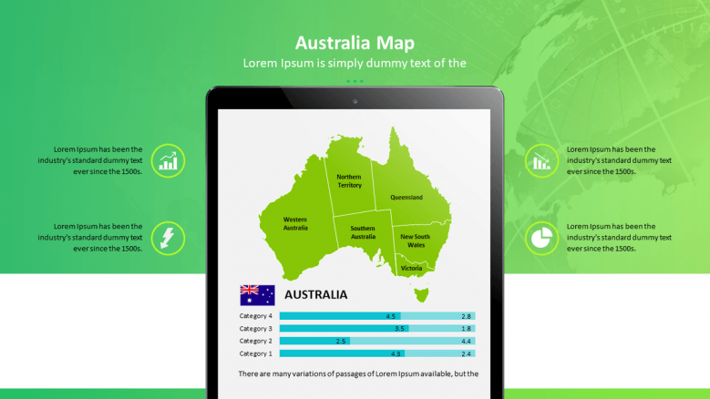 Australia map in mobile application with data driven bar chart