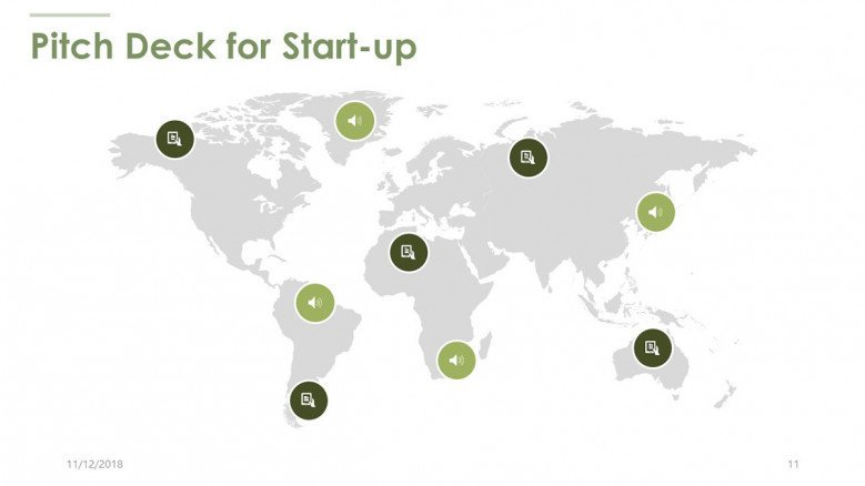 pitch deck for start up in world map