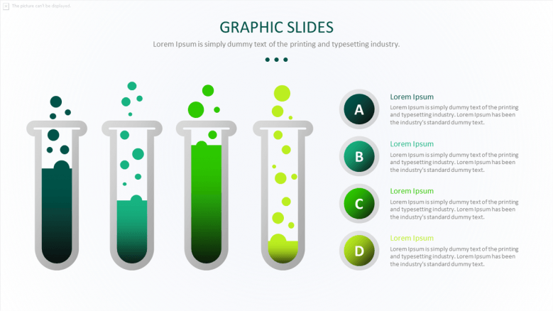 science graph in four key factors with illustration of chemical tubes