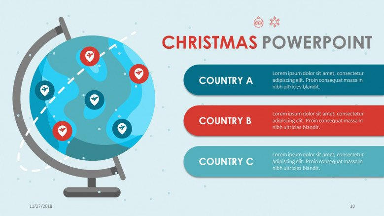 world map slide in christmas presentation