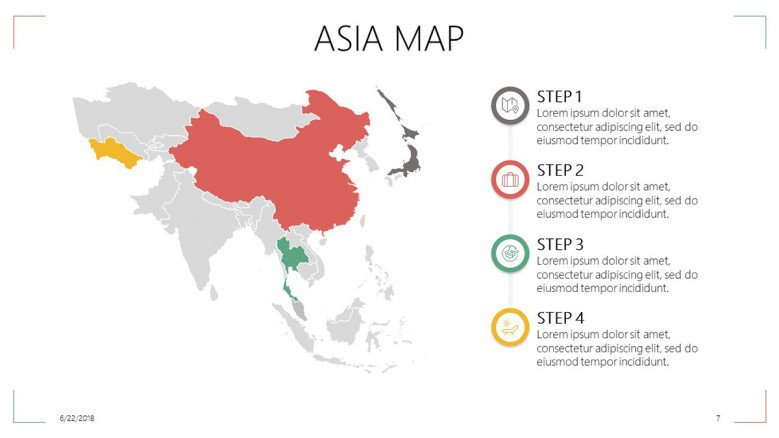 Asia map in four key factor steps
