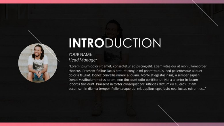 pitch deck profile introduction slide with picture