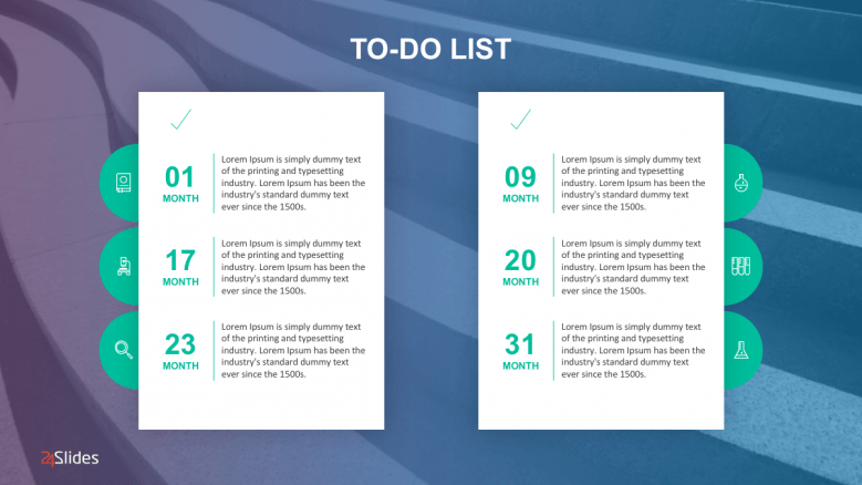 Detailed to-do list steps divided into two columns