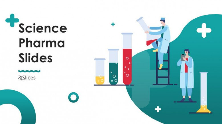 science pharma welcome slide in playful slide with illustrations of people