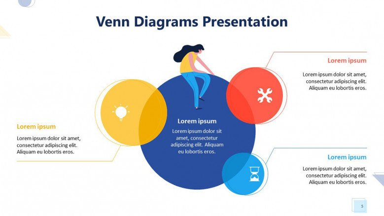 four section colorful venn diagram with playful people illustration